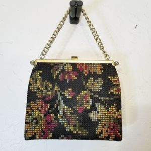 L & M Bags by Edwards crewel woven 1950's handbag